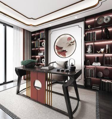 桌椅组合, 墙饰, 书柜, 书架, 摆件组合