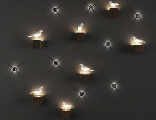 小鸟壁灯, 小夜灯, 壁灯组合, 现代