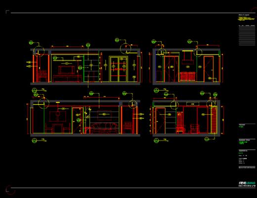 CAD, 施工图, 平面图, 立面图, 家装施工图, 下得乐3888套模型合辑