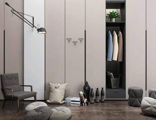 现代休闲单椅, 衣柜, 壁灯, 抱枕, 坐垫, 装饰品