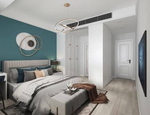 现代卧室, 双人床, 墙饰, 吊灯