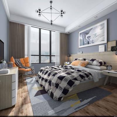 卧室, 双人床, 床头柜, 装饰品, 边柜, 装饰画, 摆件, 吊灯, 单人椅, 北欧