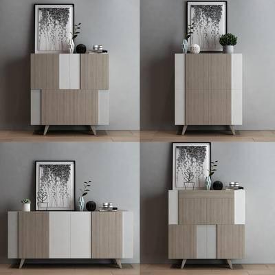 现代, 餐柜, 边柜, 装饰柜, 摆件, 装饰品, 陈设品, 花瓶, 装饰画