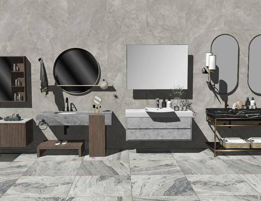 洗手盆, 壁镜, 摆件组合, 柜架组合