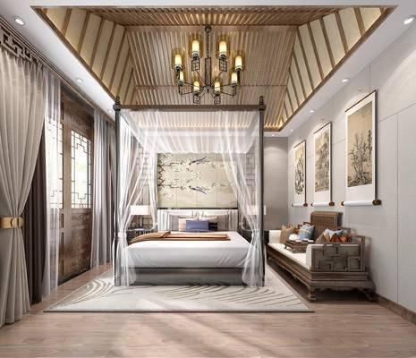 客房, 单人床, 边柜, 挂画, 沙发组合