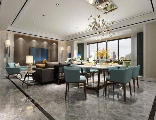 后现代客餐厅, 后现代, 餐厅, 现代吊灯, 餐桌椅, 沙发, 椅子