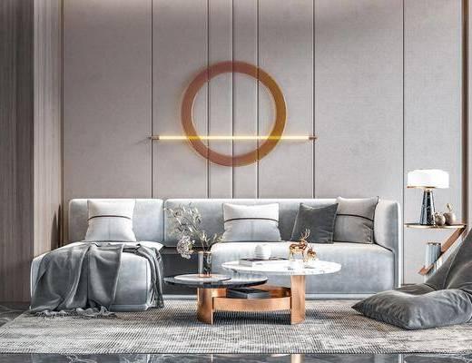 现代, 沙发, 茶几, 组合