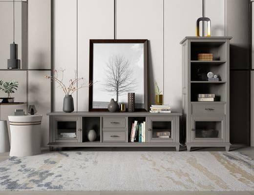 电视柜, 摆件组合, 装饰画