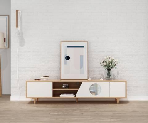 实木电视柜, 边柜组合, 摆件组合, 吊灯, 北欧