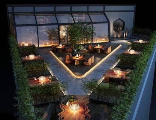 阳台, 露台, 现代, 植物, 桌椅组合