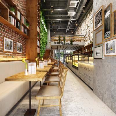 面包房, 餐桌, 餐椅, 单人椅, 楼梯, 装饰画, 挂画, 照片墙, 植物墙, 吊灯, 绿植植物, 卡座, 工业风
