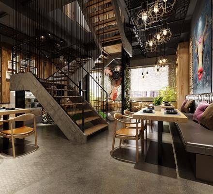 餐厅, 桌子, 单人椅, 餐桌, 卡座, 餐具, 楼梯, 盆栽, 绿植植物, 吊灯, 圆桌, 动物画, 装饰画, 挂画, 竹子, 工业风
