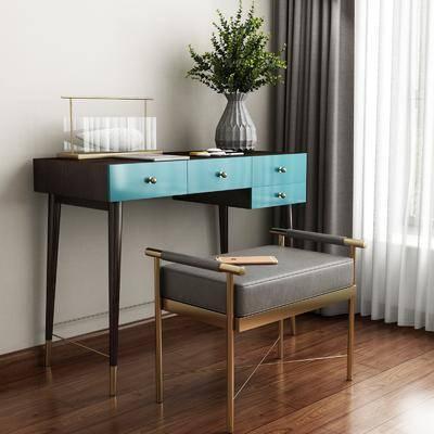 现代, 梳妆台, 凳子, 花瓶