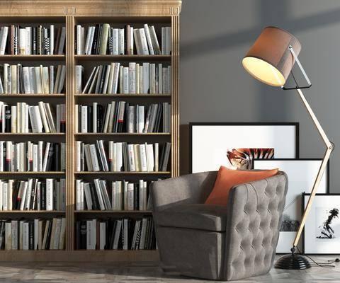 现代书柜, 书架, 休闲椅