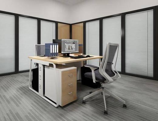 办公桌, 电脑, 摆件, 电脑主机, 现代