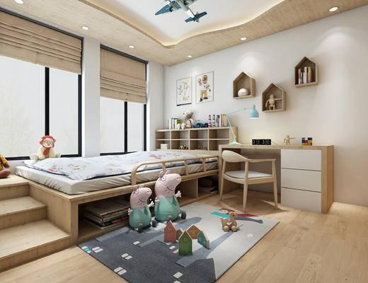 北欧儿童房组合, 北欧书桌, 北欧椅子, 衣柜, 儿童玩具, 拉帘, 榻榻米组合, 儿童房, 卧室