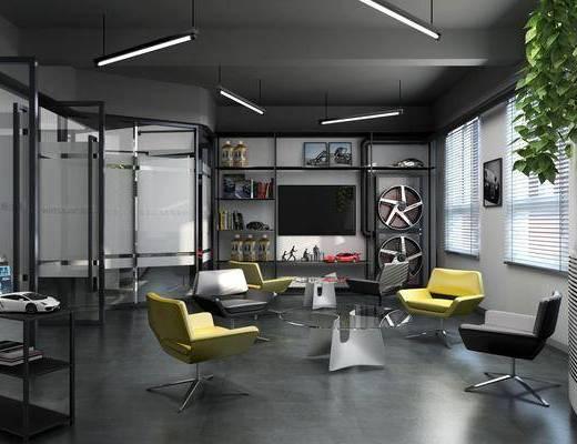 工业风汽?#24471;廊?#24215;, 工业风, 椅子, 台式空调, 植物, 车轮, 饮水机