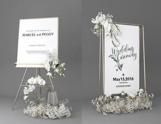现代展架, 现在摆件, 婚礼摆件, 海报展架
