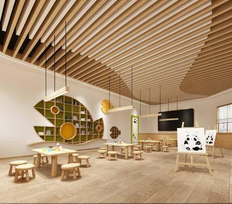 美术室, 画板组合, 桌椅组合, 装饰柜组合, 吊灯组合, 现代