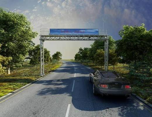 公路, 龙门架, 提示牌