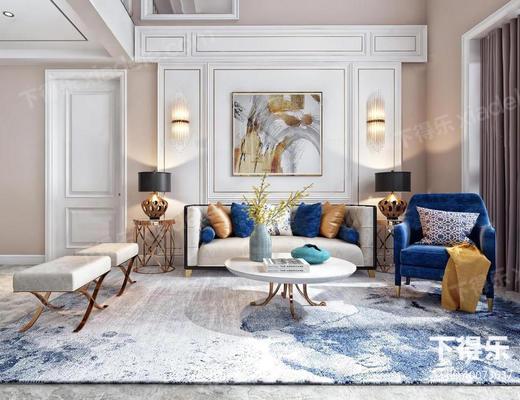 美式, 现代混搭, 美式沙发, 美式茶几, 沙发茶几组合