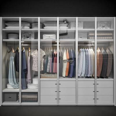 现代衣柜服装衣服抱枕组合, 现代, 衣柜, 衣服, 枕头