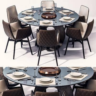 桌椅组合, 餐桌, 餐椅, 单人椅, 餐具, 现代