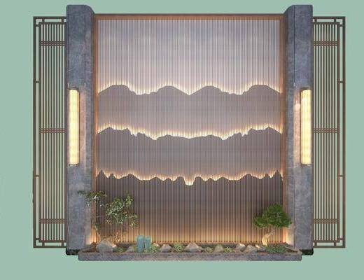 玄關造型墻, 鏤空磚, 走廊過道, 新中式