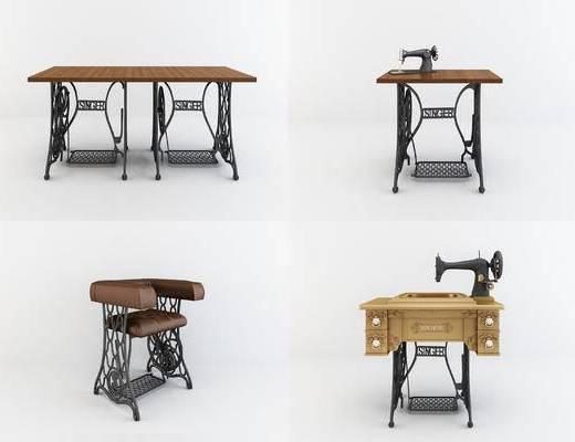 工业风缝纫机桌椅组合, 工业风装饰