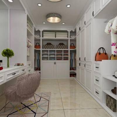 衣帽间, 服饰, 单椅, 镜子, 梳妆台, 服装
