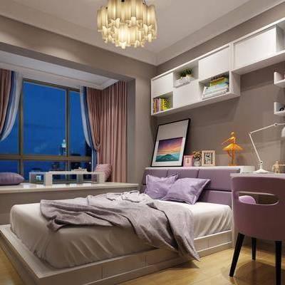 儿童房, 卧室, 现代卧室, 床, 书桌, 桌子, 椅子, 书架