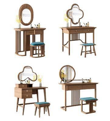 梳妆台, 化妆台, 桌子, 凳子, 新中式