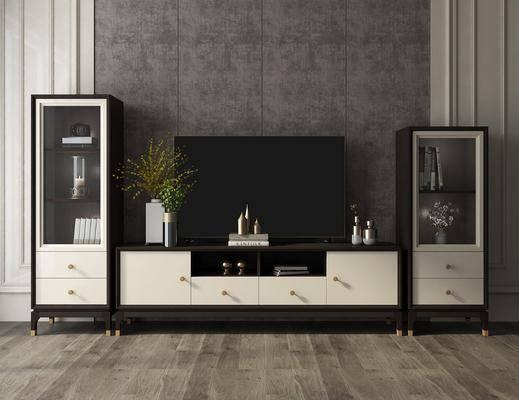 电视柜组合, 边柜, 花瓶, 绿植植物, 摆件, 装饰品, 陈设品, 美式