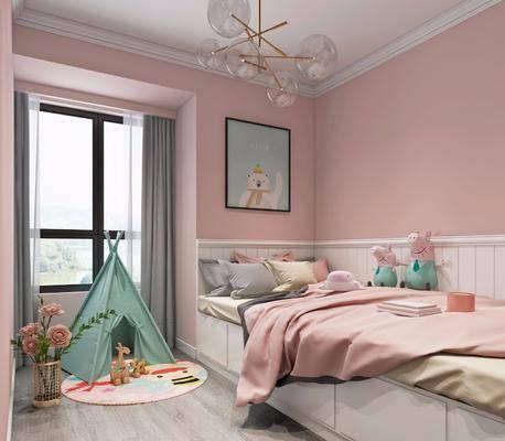 女孩房, 卧室, 榻榻米, 帐篷, 玩具, 装饰画, 吊灯, 现代