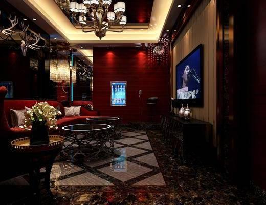 KTV包间, 会所, 多人沙发, 茶几, 转角沙发, 单人沙发, 墙饰, 吊灯, 装饰柜, 边柜, 凳子, 单人椅, 装饰品, 陈设品, 简欧