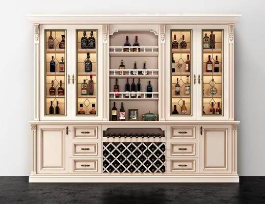 欧式酒柜, 酒柜, 置物柜