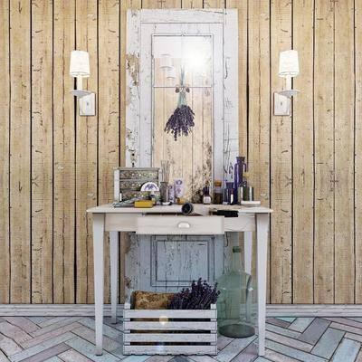 梳妆台, 桌子, 镜子, 灯, 木板, 装饰品, 现代