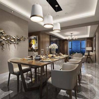 现代餐厅, 现代, 餐厅, 餐桌, 椅子, 吊灯, 沙发