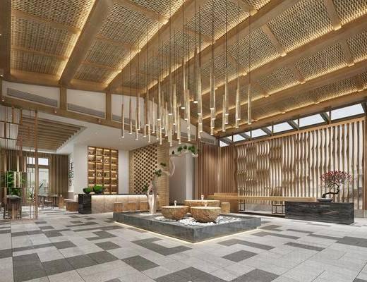 酒店, 大堂, 大厅, 前台, 接待, 植物, 盆栽, 隔断, 新中式, 新中式酒店大堂