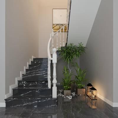 罗马柱, 楼梯扶手, 楼梯立柱, 植物, 地灯, 楼梯口装饰