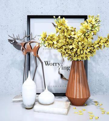 摆件组合, 花瓶花卉, 装饰画, 挂画, 摆件, 装饰品, 陈设品, 北欧