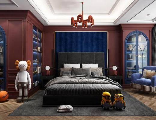 美式卧室, 美式儿童床, 玩偶, 吊灯