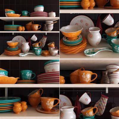 现代餐具组合, 田园碟碗杯, 烤箱手套, 现代