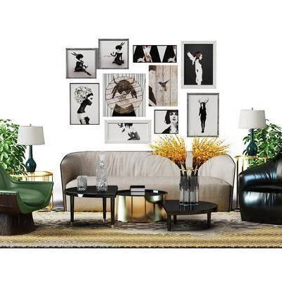 多人沙发, 单人沙发, 茶几, 边几, 台灯, 装饰画, 摆件, 现代