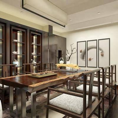 新中式茶室, 新中式, 茶室, 茶桌, 中式椅子