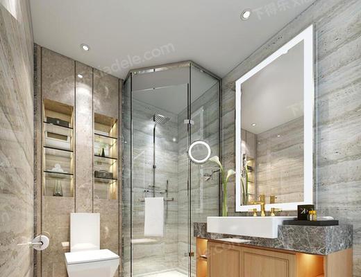卫生间, 淋浴间, 洗手台, 便器, 镜子, 卫浴