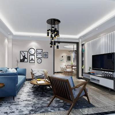 北欧客厅, 现代客厅, 简约客厅, 北欧沙发, 沙发组合, 沙发茶几组合, 北欧, 客厅, 沙发, 吊灯, 茶几