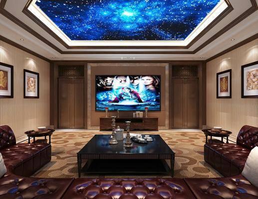 影视厅, 茶几, 电视, 电视柜, 装饰画, 单椅
