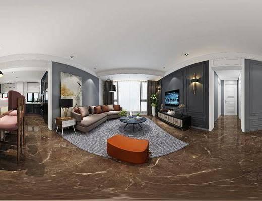 客厅, 沙发组合, 沙发茶几组合, 电视柜, 多人沙发, 后现代, 现代, 吧台, 吧椅, 吧凳, 吊灯