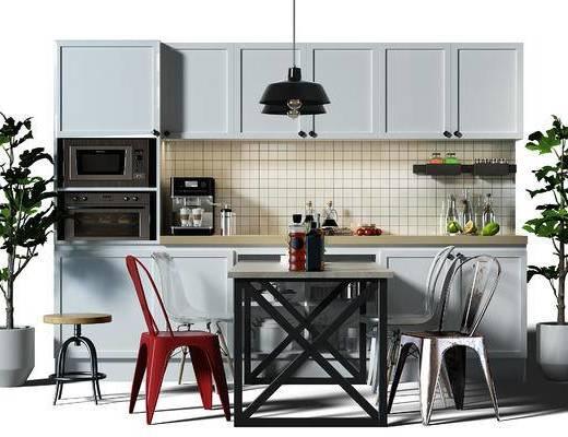 餐桌, 桌椅, 餐桌椅组合, 桌椅组合, 橱柜, 厨柜, 吊灯, 盆景, 植物, 凳子, 现代, 北欧